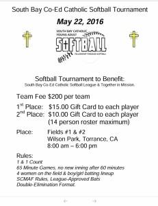 SBCASL 2016 Charity Softball Tournament Flyer